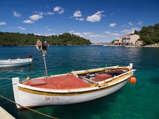 A boat moored in Pomena